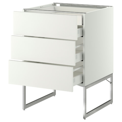 Напольный шкаф 3 фронтальных панели, 2 нижних, 2 средних ящика МЕТОД / МАКСИМЕРА белый артикуль № 391.058.26 в наличии. Online сайт IKEA РБ. Недорогая доставка и соборка.