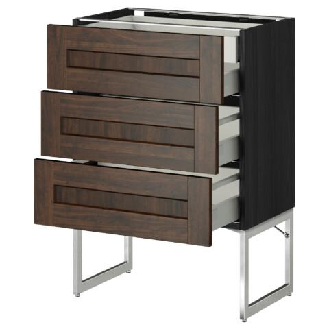 Напольный шкаф 3 фронтальных панели, 2 нижних, 2 средних ящика МЕТОД / МАКСИМЕРА черный артикуль № 391.072.17 в наличии. Интернет сайт IKEA Минск. Недорогая доставка и монтаж.