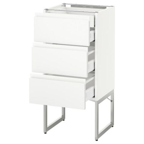 Напольный шкаф 3 фронтальных панели, 2 нижних, 2 средних ящика МЕТОД / МАКСИМЕРА белый артикуль № 391.307.41 в наличии. Онлайн магазин IKEA Минск. Недорогая доставка и соборка.
