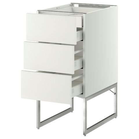 Напольный шкаф 3 фронтальных панели, 2 нижних, 2 средних ящика МЕТОД / МАКСИМЕРА белый артикуль № 591.057.74 в наличии. Онлайн каталог IKEA РБ. Быстрая доставка и установка.