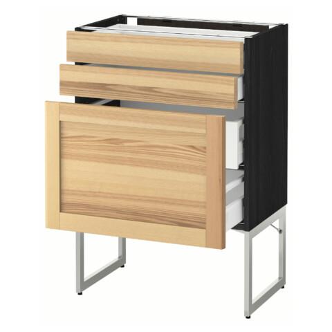 Напольный шкаф 3 фронтальных панели, 2 нижних, 2 средних ящика МЕТОД / МАКСИМЕРА черный артикуль № 591.532.51 в наличии. Интернет каталог IKEA РБ. Недорогая доставка и установка.