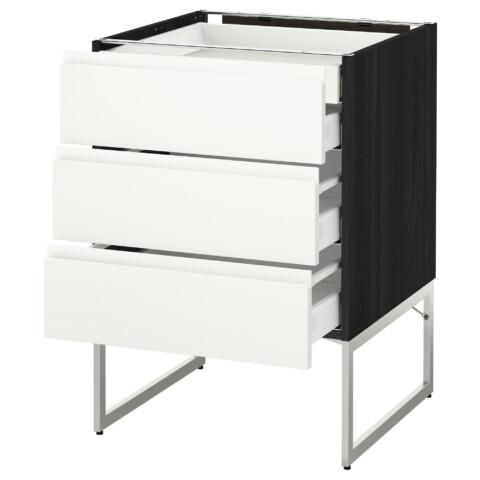 Напольный шкаф 3 фронтальных панели, 2 нижних, 2 средних ящика МЕТОД / МАКСИМЕРА черный артикуль № 691.306.88 в наличии. Online сайт IKEA РБ. Быстрая доставка и установка.