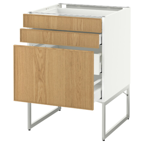 Напольный шкаф 3 фронтальных панели, 2 нижних, 2 средних ящика МЕТОД / МАКСИМЕРА белый артикуль № 991.061.06 в наличии. Онлайн каталог IKEA РБ. Быстрая доставка и установка.