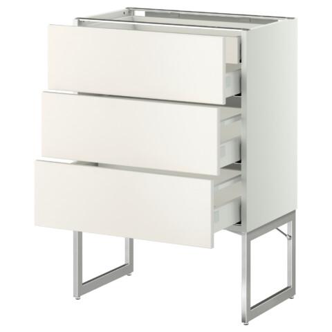 Напольный шкаф 3 фронтальных панели, 2 нижних, 2 средних ящика МЕТОД / МАКСИМЕРА белый артикуль № 991.072.38 в наличии. Интернет магазин IKEA Минск. Быстрая доставка и монтаж.