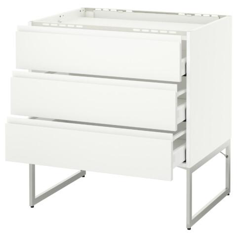 Напольный шкаф, 3 фронтальных панели, 3 ящика МЕТОД / МАКСИМЕРА белый артикуль № 391.307.98 в наличии. Онлайн сайт IKEA РБ. Быстрая доставка и соборка.