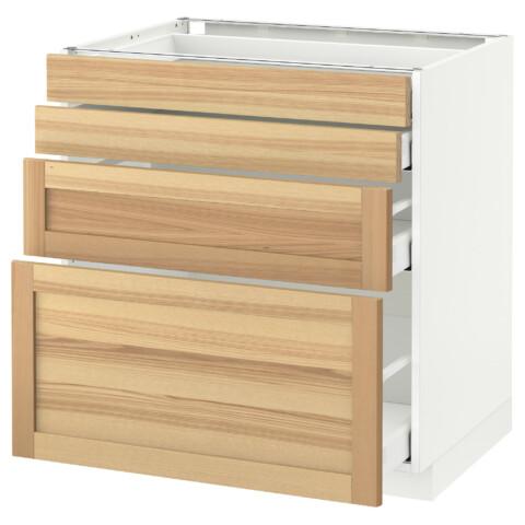 Напольный шкаф 4 фронтальных панели, 4 ящика МЕТОД / МАКСИМЕРА белый артикуль № 591.533.93 в наличии. Онлайн магазин ИКЕА РБ. Недорогая доставка и установка.