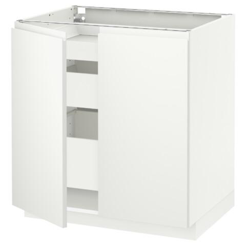 Напольный шкаф с 2 дверцами, 3 ящиками МЕТОД / МАКСИМЕРА белый артикуль № 091.309.50 в наличии. Онлайн магазин IKEA Минск. Быстрая доставка и монтаж.