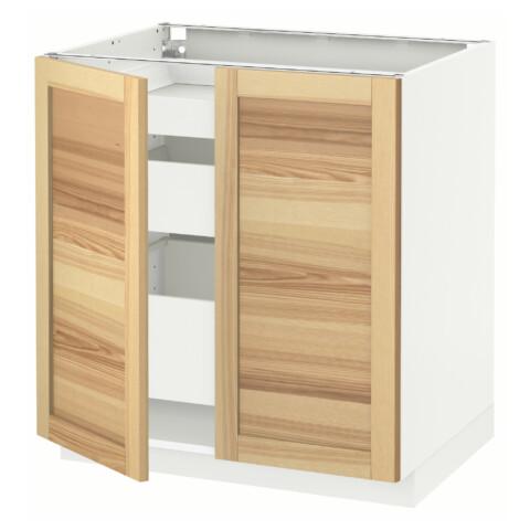Напольный шкаф с 2 дверцами, 3 ящиками МЕТОД / МАКСИМЕРА белый артикуль № 491.534.59 в наличии. Online сайт IKEA РБ. Быстрая доставка и соборка.