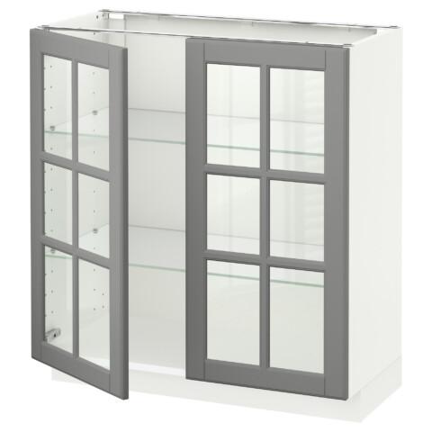 Напольный шкаф с 2 стекло дверцами МЕТОД белый артикуль № 490.526.05 в наличии. Онлайн каталог IKEA Беларусь. Быстрая доставка и соборка.