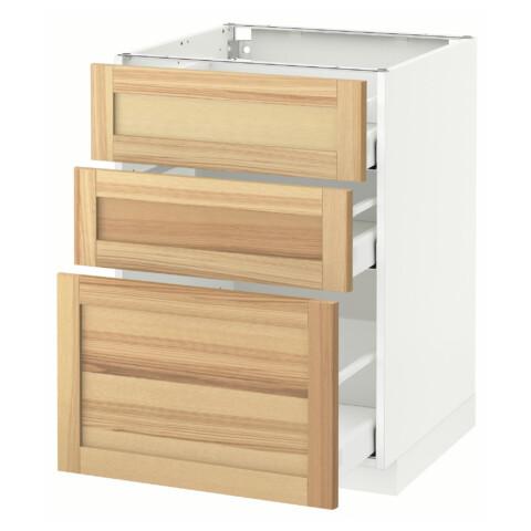 Напольный шкаф с 3 ящиками МЕТОД / МАКСИМЕРА белый артикуль № 191.533.85 в наличии. Онлайн сайт IKEA РБ. Недорогая доставка и монтаж.