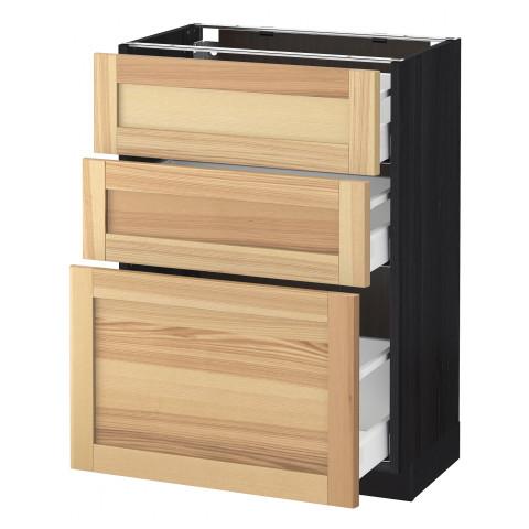 Напольный шкаф с 3 ящиками МЕТОД / МАКСИМЕРА черный артикуль № 791.534.48 в наличии. Интернет сайт IKEA Республика Беларусь. Быстрая доставка и установка.