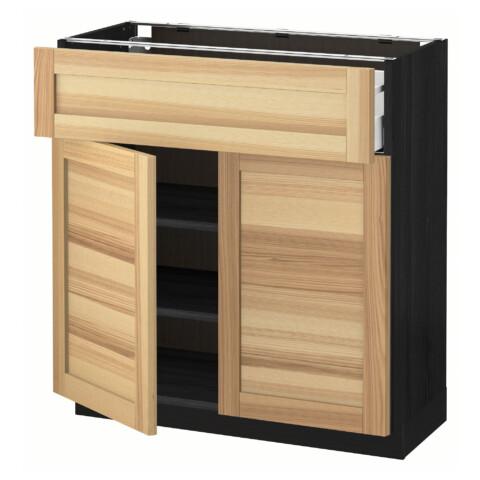 Напольный шкаф + ящик, 2 дверцы МЕТОД / МАКСИМЕРА черный артикуль № 291.534.60 в наличии. Онлайн магазин ИКЕА РБ. Быстрая доставка и установка.