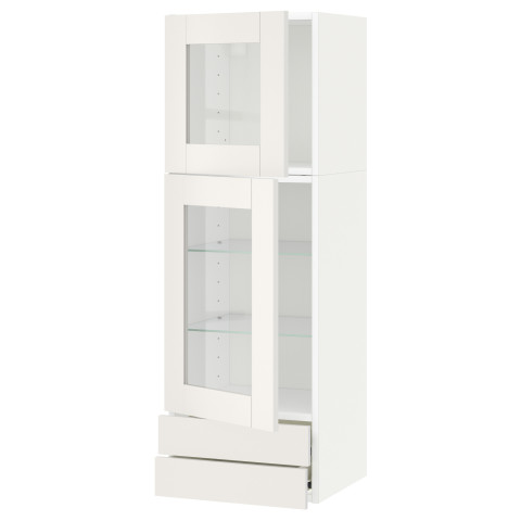 Навесной шкаф, 2 стеклянные дверцы, 2 ящика МЕТОД / ФОРВАРА белый артикуль № 390.636.47 в наличии. Онлайн сайт IKEA РБ. Недорогая доставка и установка.