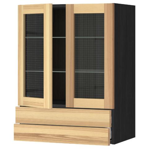 Навесной шкаф, 2 стеклянные дверцы, 2 ящика МЕТОД / МАКСИМЕРА черный артикуль № 391.533.08 в наличии. Онлайн сайт ИКЕА РБ. Быстрая доставка и установка.