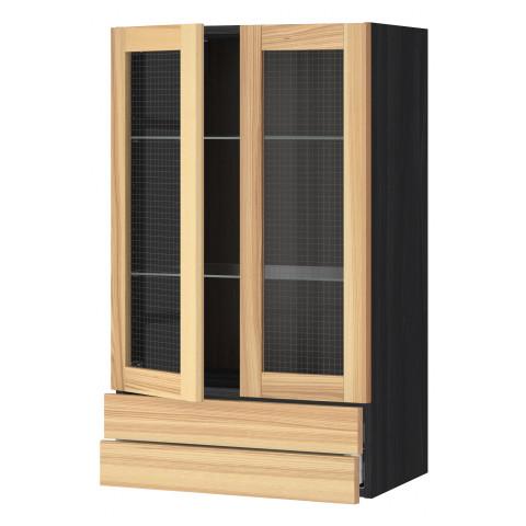 Навесной шкаф, 2 стеклянные дверцы, 2 ящика МЕТОД / МАКСИМЕРА черный артикуль № 391.533.13 в наличии. Онлайн каталог IKEA РБ. Быстрая доставка и соборка.