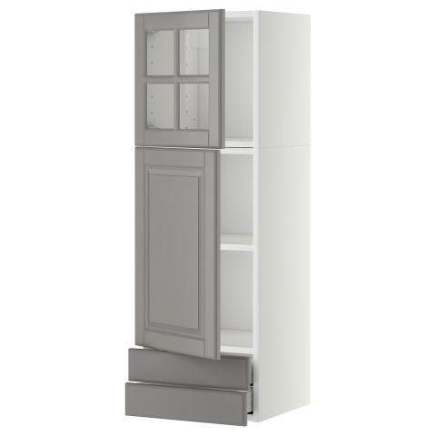 Навесной шкаф, дверцы, стеклянные дверцы, 2 ящика МЕТОД / МАКСИМЕРА серый артикуль № 791.091.58 в наличии. Онлайн сайт ИКЕА РБ. Недорогая доставка и соборка.