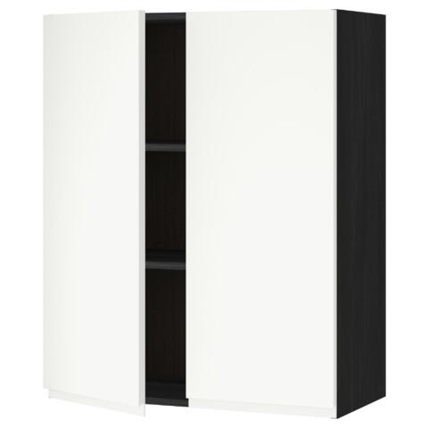 Навесной шкаф с полками, 2 дверцы МЕТОД черный артикуль № 291.114.51 в наличии. Интернет магазин IKEA Минск. Быстрая доставка и соборка.