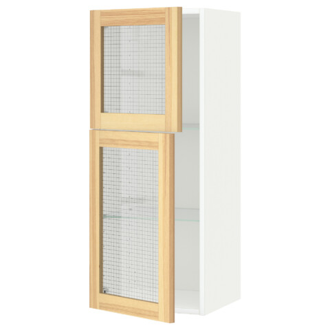 Навесной шкаф с полками, 2 стекло дверцы МЕТОД белый артикуль № 291.342.59 в наличии. Online каталог IKEA РБ. Недорогая доставка и соборка.