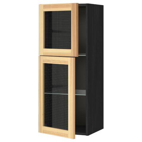 Навесной шкаф с полками, 2 стекло дверцы МЕТОД черный артикуль № 491.342.58 в наличии. Интернет сайт IKEA Минск. Быстрая доставка и соборка.