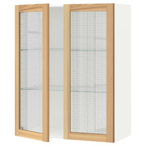 Навесной шкаф с полками, 2 стекло дверцы МЕТОД белый артикуль № 691.342.57 в наличии. Интернет сайт ИКЕА РБ. Недорогая доставка и установка.