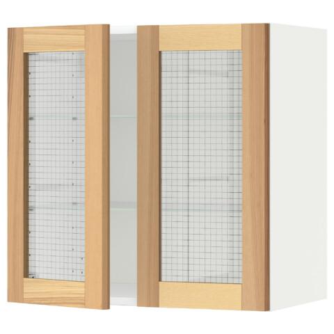 Навесной шкаф с полками, 2 стекло дверцы МЕТОД белый артикуль № 791.342.47 в наличии. Онлайн сайт IKEA Республика Беларусь. Недорогая доставка и монтаж.