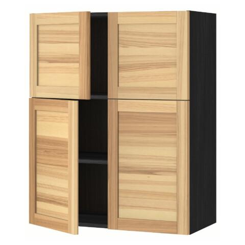 Навесной шкаф с полками, 4 дверцы МЕТОД черный артикуль № 591.342.34 в наличии. Online магазин IKEA РБ. Недорогая доставка и монтаж.