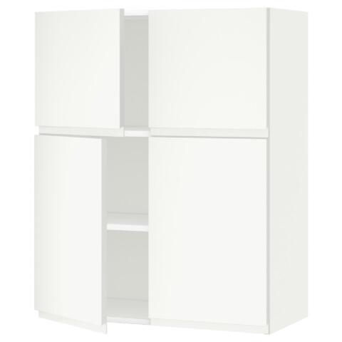Навесной шкаф с полками, 4 дверцы МЕТОД белый артикуль № 691.113.50 в наличии. Интернет каталог IKEA Минск. Недорогая доставка и соборка.