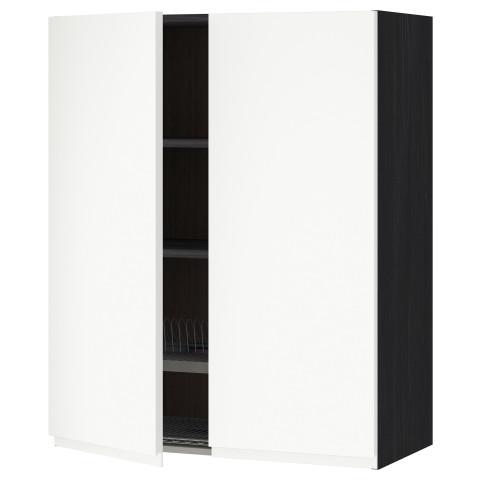 Навесной шкаф с посудной сушилкой, 2 дверцы МЕТОД черный артикуль № 291.114.65 в наличии. Онлайн сайт ИКЕА Минск. Быстрая доставка и монтаж.