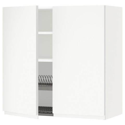 Навесной шкаф с посудной сушилкой, 2 дверцы МЕТОД белый артикуль № 591.113.60 в наличии. Online сайт IKEA Беларусь. Быстрая доставка и соборка.