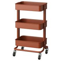 Тележка РОСКУГ красный/коричневый артикуль № 503.317.62 в наличии. Онлайн сайт IKEA РБ. Недорогая доставка и соборка.