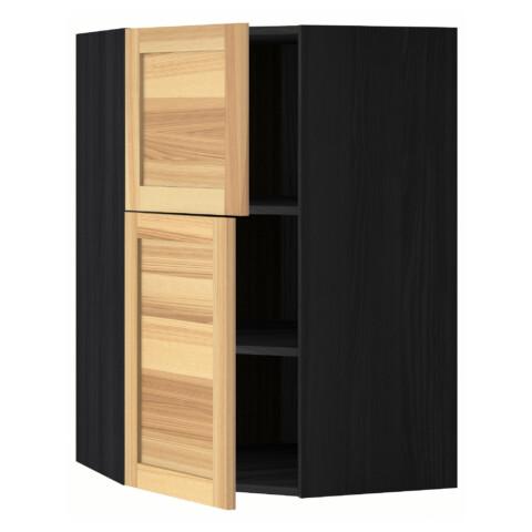 Угловой навесной шкаф + полки, 2 дверцы МЕТОД черный артикуль № 091.343.78 в наличии. Онлайн сайт IKEA Республика Беларусь. Недорогая доставка и монтаж.