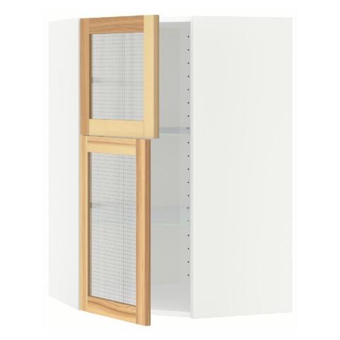 Угловой навесной шкаф + полки, 2 стеклянные дверцы МЕТОД белый артикуль № 491.343.81 в наличии. Онлайн магазин IKEA РБ. Быстрая доставка и соборка.