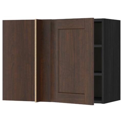 Угловой навесной шкаф с полками МЕТОД черный артикуль № 591.243.86 в наличии. Онлайн сайт IKEA РБ. Быстрая доставка и соборка.