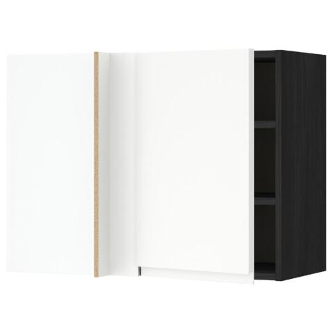 Угловой навесной шкаф с полками МЕТОД черный артикуль № 691.244.18 в наличии. Online сайт IKEA РБ. Недорогая доставка и установка.