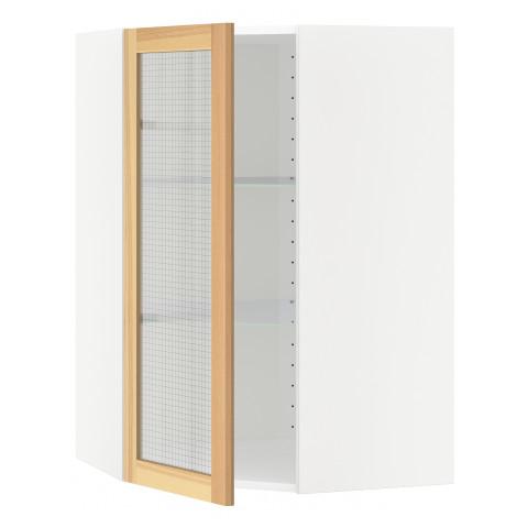 Угловой навесной шкаф с полками, стекляными дверцами МЕТОД белый артикуль № 191.343.11 в наличии. Онлайн магазин ИКЕА РБ. Быстрая доставка и соборка.