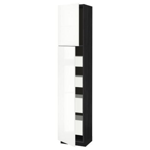 Высокий шкаф/2дверцы/4ящика МЕТОД / МАКСИМЕРА черный артикуль № 491.691.82 в наличии. Онлайн каталог IKEA Минск. Быстрая доставка и соборка.