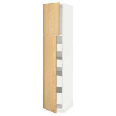 Высокий шкаф/2дверцы/4ящика МЕТОД / МАКСИМЕРА белый артикуль № 691.693.98 в наличии. Online магазин IKEA РБ. Быстрая доставка и монтаж.