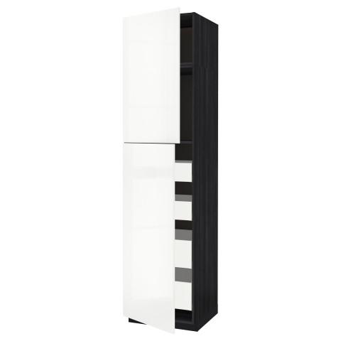 Высокий шкаф/2дверцы/4ящика МЕТОД / МАКСИМЕРА черный артикуль № 791.691.28 в наличии. Онлайн каталог IKEA Минск. Недорогая доставка и соборка.