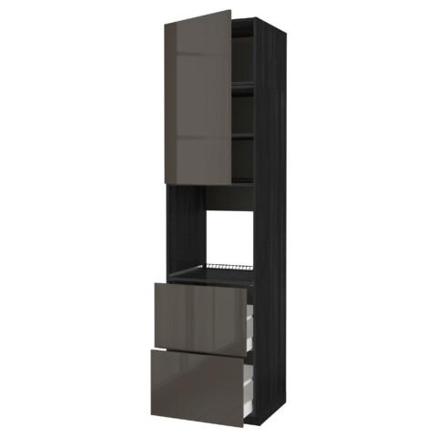Высокий шкаф для духовки + дверь, 2 ящика МЕТОД / МАКСИМЕРА черный артикуль № 491.696.10 в наличии. Онлайн сайт IKEA Минск. Быстрая доставка и установка.