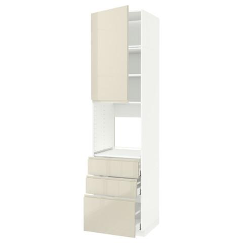 Высокий шкаф для духовки/дверь/3 ящика МЕТОД / МАКСИМЕРА белый артикуль № 891.698.68 в наличии. Online магазин IKEA Минск. Недорогая доставка и соборка.