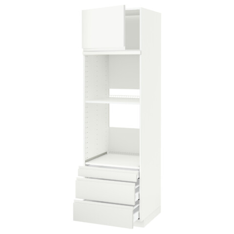 Высокий шкаф для духовки комбинированный, духовка + дверца, 3 ящика МЕТОД / МАКСИМЕРА белый артикуль № 291.309.92 в наличии. Online каталог IKEA Минск. Быстрая доставка и установка.