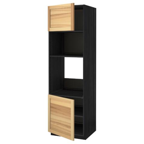 Высокий шкаф для духовки/СВЧ, 2 дверцы, полки МЕТОД черный артикуль № 391.348.38 в наличии. Онлайн сайт IKEA РБ. Недорогая доставка и установка.