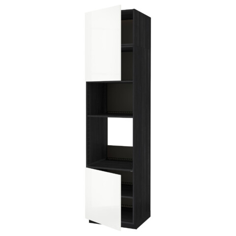Высокий шкаф для духовки/СВЧ, 2 дверцы, полки МЕТОД черный артикуль № 791.659.55 в наличии. Онлайн сайт IKEA Минск. Недорогая доставка и соборка.