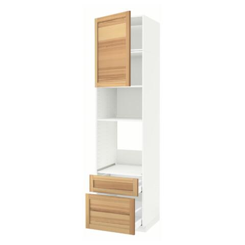 Высокий шкаф для духовки/СВЧ дверца, 2 ящика МЕТОД / МАКСИМЕРА белый артикуль № 091.536.11 в наличии. Online сайт IKEA Минск. Быстрая доставка и установка.