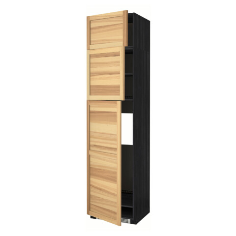 Высокий шкаф для холодильника, 3 дверцы МЕТОД черный артикуль № 391.348.24 в наличии. Интернет магазин ИКЕА Минск. Недорогая доставка и установка.