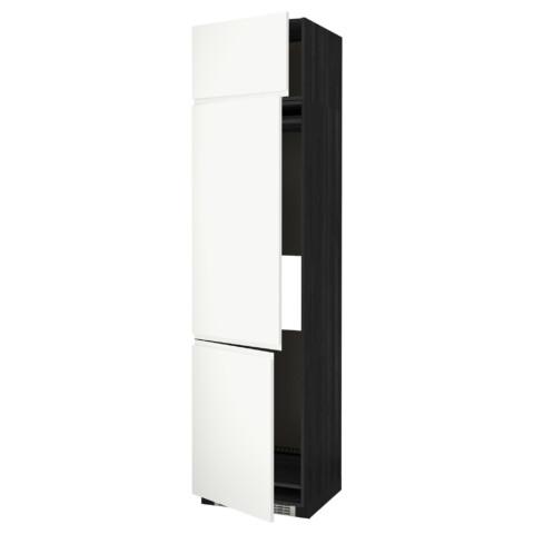 Высокий шкаф для холодильника или морозильника, с 3 дверями МЕТОД черный артикуль № 391.114.79 в наличии. Интернет сайт ИКЕА Минск. Быстрая доставка и монтаж.