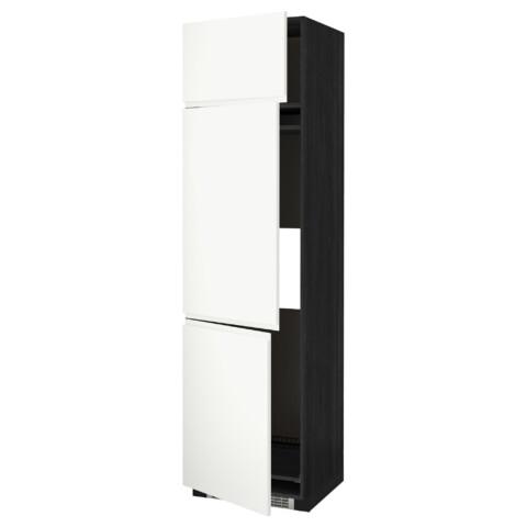 Высокий шкаф для холодильника или морозильника, с 3 дверями МЕТОД черный артикуль № 591.114.78 в наличии. Онлайн сайт IKEA Минск. Быстрая доставка и монтаж.
