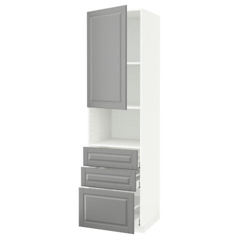 Высокий шкаф для/СВЧ+дверца/3 ящика МЕТОД / МАКСИМЕРА серый артикуль № 591.702.17 в наличии. Интернет магазин IKEA РБ. Быстрая доставка и монтаж.