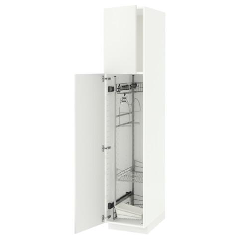 Высокий шкаф с отделением для аксессуаров, для уборки МЕТОД белый артикуль № 291.625.58 в наличии. Интернет магазин ИКЕА Минск. Быстрая доставка и установка.