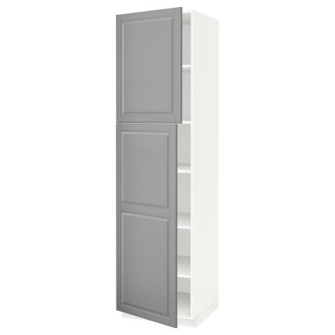 Высокий шкаф с полками, 2 дверцы МЕТОД серый артикуль № 191.624.79 в наличии. Интернет магазин ИКЕА Минск. Недорогая доставка и установка.